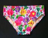 Mens Swim Brief Swimsuit in Regular or Low Rise in Posies Floral Print in S.M.L.XL.
