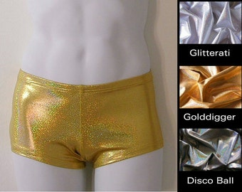 Mens Low Rise Square Cut Swimsuit in Gold, Silver, and Disco Ball Glitter Hologram in S.M.L.XL