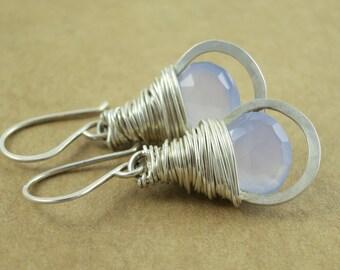 Chalcedony Wrapped Hoop Earrings