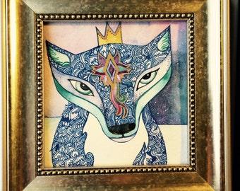 Arctic fox framed  Original Watercolor by Megan Noel