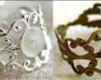 Assorted Filigree Ring Blanks 76 pieces
