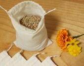 bulk food bags - reusable drawstring organic cotton bags - pint size - zero waste - plastic free - eco friendly