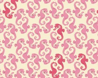 Mendocino Cream Pink Seahorses Heather Ross cotton quilt fabric - fat quarter, mendocino fabric, heather ross fabric