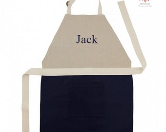 Monogrammed Childrens Apron Child Jute Cotton Natural Personalized Kitchen Cooking With Kids
