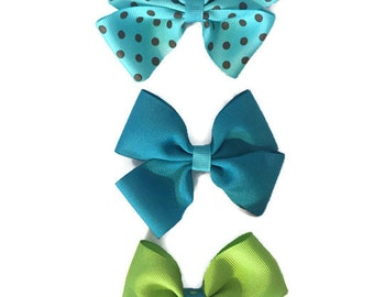 Hairbow French Barrette Set of 2 Bow Bows Hair Accessory Preppy Handmade in USA