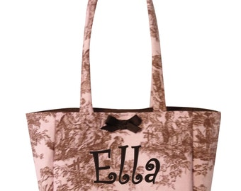 Monogrammed Girl's Toile Handbag Girls Purse Bag Tote Custom Personalized Gift Boutique