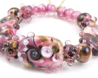 Blackberry Crush Mixed Set - Handmade Artisan Lampwork Glass Beads - Purple, Pink, Green - SRA (Set of 17 Beads)