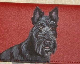 Scottish Terrier Custom Painted Faux Leather Ladies  Wallet vegan