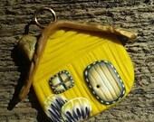 Polymer Clay Pendant,Fairy Pendant,House Pendant,Polymer Charm, Clay Charm,Artisan Charm,Clay Pendant