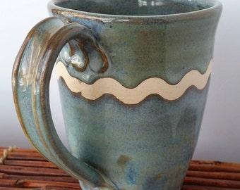 Ceramic Mug in Greens and Browns