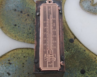 Vintage Letterpress Printers Block for a Taylor Thermometer