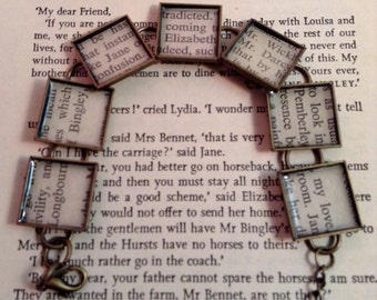 Pride and Prejudice Recycled Book Bracelet, Jane Austen, literary jewelry
