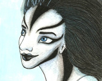 Original Pen and Ink Wash Portrait Alien Girl