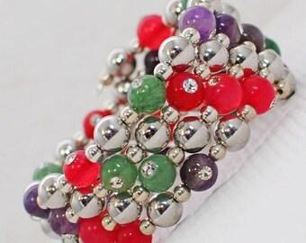 Pink Green Purple Wraparound Memory Wire Cuff Gemzacolor Sparkle-go-round - Wrap around bracelet - Wide bracelet - Gift for Mother