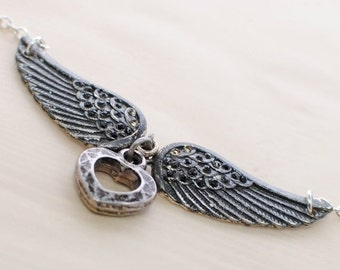 Winged Heart Pendant Necklace Love in Flight - Heart Necklace - Gothic Pendant - Heart with Wings - Heart Charms