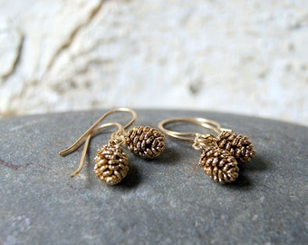 Antiqued Gold Pine Cone Earrings - Pinecone Charms