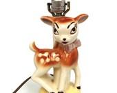 Vintage Ceramic Deer Bambi Lamp Retro Very Cute NEAR MINT Nursery Children's Room Child's Fawn Circa 1950s