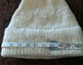 2 handknit hats in ivory 100% wool