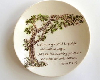Inspirational Quote .  Marcel Proust . Ring Dish . Friendship and Happiness . Gratitude . Tree of Life . Jewelry Dish