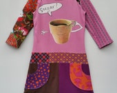 Size 8 (52 3/4 inch height) upcycled girls dress with print sugar