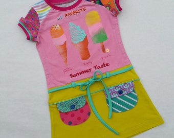 Size 4T (41 inch height) Upcycled shirt girls Summer taste
