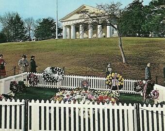 Vintage 1960s Postcard Grave of JFK Kennedy Arlington National Cemetery Virginia Washington Burial Site Photochrome Era Postally Unused