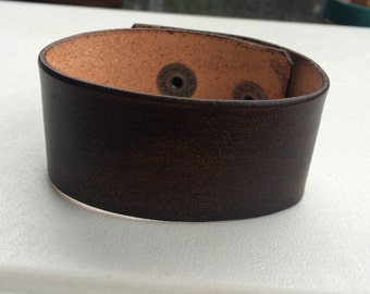 Brown Leather Cuff Wristband Bracelet 1 1/4' Wide Brown by Shaterra
