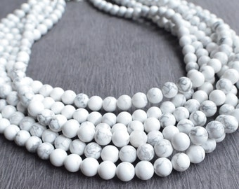 The Michelle- White and Gray Howlite Statement Necklace