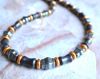 The Ryder- Hematite, Black Stone and Copper Glass Men's Necklace