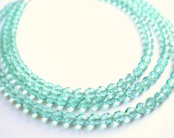 The Anna Marie- Light Aqua Czech Glass Necklace