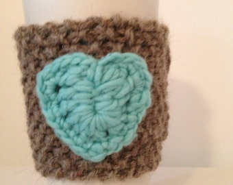 Brown and Turquoise Coffee Cup Cozy, Sleeve, Knitted Tea, Latte Cozie with Reclaimed Wood Buttons