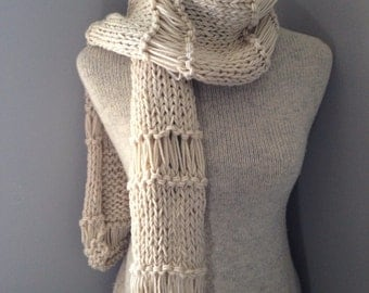 Aran Lacey Knit Scarf Openweave Cowl Wrap Soft Ivory Shawl Scarf