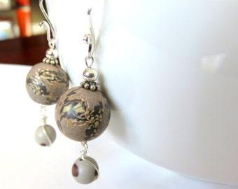 Round Ball Earrings - Polymer Clay and Jasper Earrings - Boho Dangle Earrings - Brown and Silver