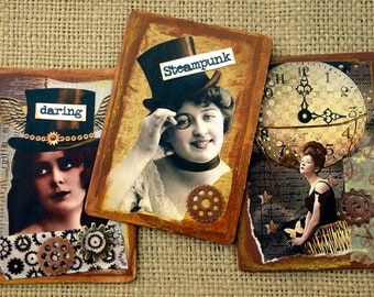 Steampunk Ladies Magnets Gears Balloon Mixed Media Recycled Upcycled Repurposed Altered Game Cards Refrigerator Magnet Vintage Original Art