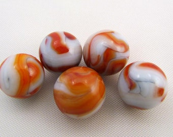 5 Vintage Champion Agate Red and White Swirls