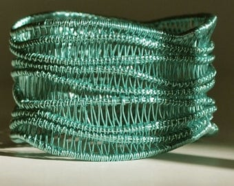 Hand woven wire cuff bangle - aqua colour
