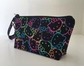 makeup bag colorful kitty medium size  cosmetic purse  clutch purse  zipper pouch
