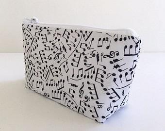 Music teacher gift, band director gift, makeup bag, zipper bag, cosmetic bag, zipper pouch, toiletry bag, gift for her, deesdeezigns