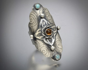 Boho Saddle Ring, Sterling Silver, Medieval, Amber, Amazonite