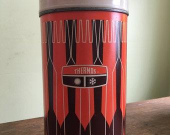 Vintage Retro Cream, Orange, and Brown Thermos - Large