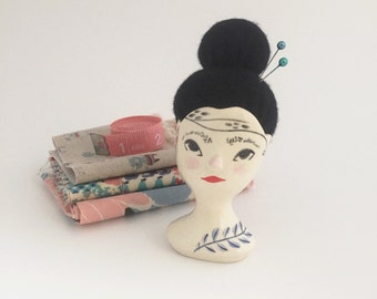 Ceramic Gentlewoman Pincushion no. 14