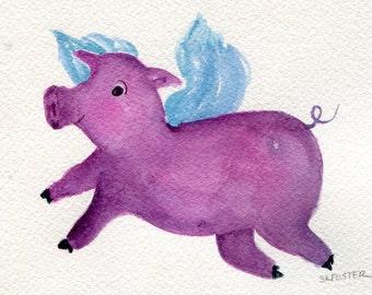 Purple Flying Pig watercolor painting original , pig with wings watercolor art 4 x 6