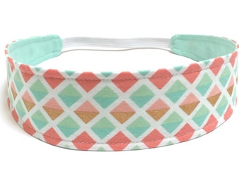 Headband Girls Child Children's  - Reversible Headband - Mint, Coral, Pink & Gold -  GLITZ TRIANGLES