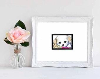 Original ART Mi-Ki Puppy Dog Breed Matted Drawing