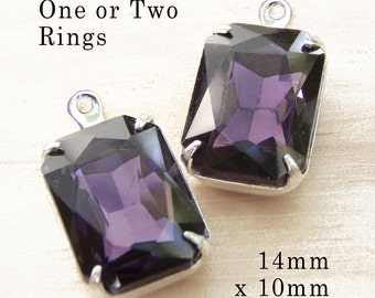 Amethyst Purple Octagon Beads, Silver Plated Brass Settings, Glass Jewels, 14mm x 10mm, Cabochon, Glass Gems, Rhinestone, Charms, One Pair