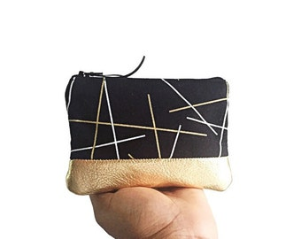 Black and Gold Sticks Leather Change Wallet, Small Black Zipper Pouch, Change Purse, Coin Purse, 144 Collection