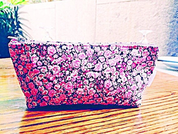 Cosmetic Bag Brown Flowers, Floral Makeup Bag, Brown Makeup Case, Pink Cosmetic Case, Toiletry Bag, Betty Cosmetic Bag, Liberty of London