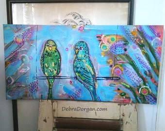 Budgies, Original Painting, Budgerigars, Joy, Birdies, Little Parrots, Tropical, Art, Cheery,  Wall Art, Home Decor