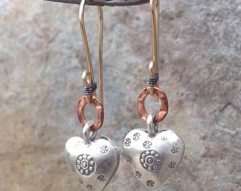HEART earrings, mixed metal COPPER, sterling silver, 14k gold filled, AngryHairrJewelry