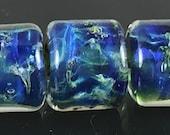StoneyMarie Set of 3 Handmade Boro Borosilicate Lampwork Glass Beads Barrels